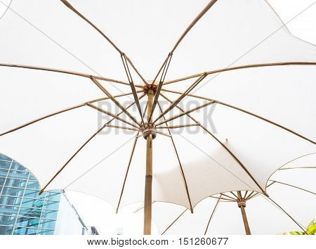 White umbrellas with wooden splines for sun protection.