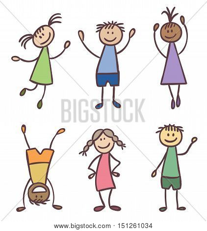 Children friendship characters hand drawn vector set