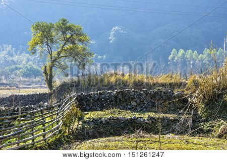 The karst mountains scenery background in winter
