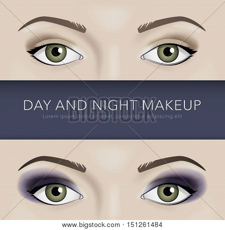 day and night eye makeup vector background