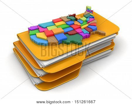 3D Illustartion. Folders and files with map of USA. Image with clipping path