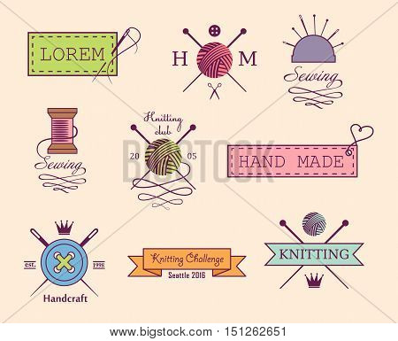 Knitting and sewing vector labels set on white background
