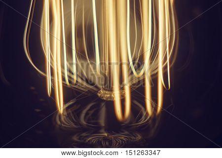 Electrical Filament lamps Edison close-up macro. soft focus.
