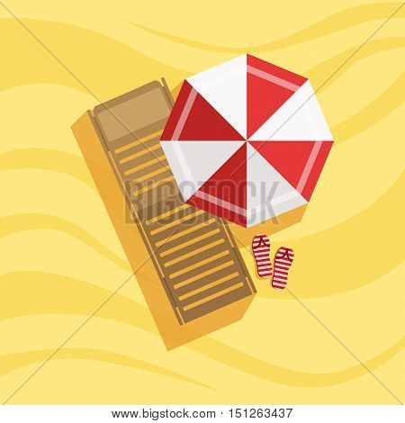 Sunbed, Flip-flops And Umbrella Spot On The Beach Composition. Place On The Sand With Vacation Attributes From Above Bright Color Vector Illustration.
