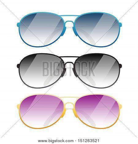Set of Sunglasses oo white dackground vector illustration