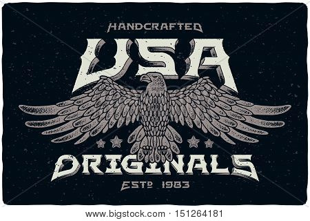 Print for t-shirt with bald eagle illustration and text