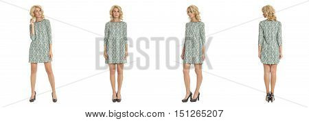 Beautiful Blonde Woman In Raglan Dress Isolated On White
