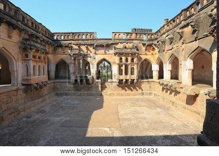 Ancient carved wall with hindu deities in Hazara Rama Jain Temple Hampi Karnataka India
