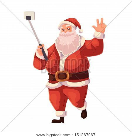 Santa Claus making selfie, cartoon style vector illustration isolated on white background. Full length portrait of Santa making selfie, Christmas decoration element
