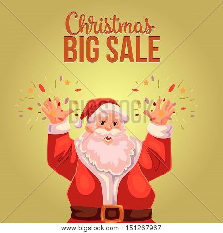 Cartoon style Santa Claus making fireworks, Christmas vector sale banner, gold background, text at the top. Half length portrait of Santa declaring a sale, Christmas sale banner template