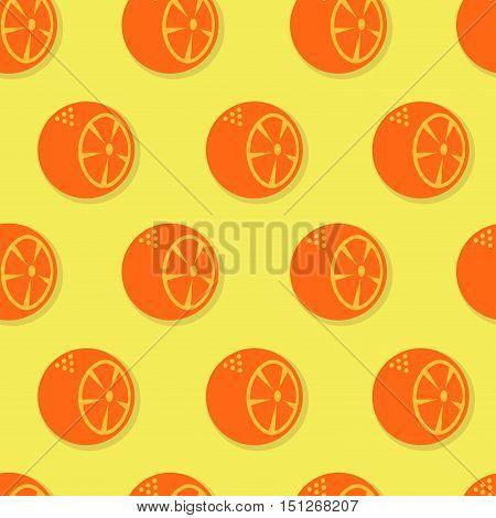 Oranges seamless pattern. Orange slices on yellowl background
