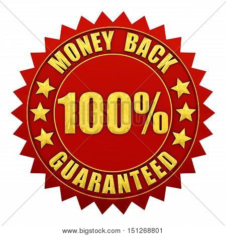 100 percent money back guaranteed red and gold warranty label isolated on white  ,3d illustration