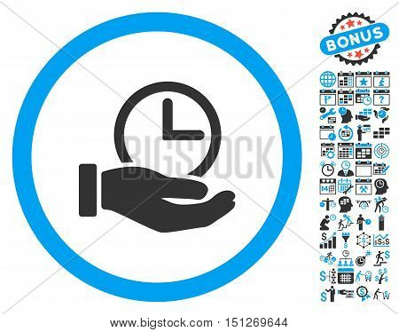Time Service Hand icon with bonus calendar and time management icon set. Glyph illustration style is flat iconic bicolor symbols blue and gray colors white background.