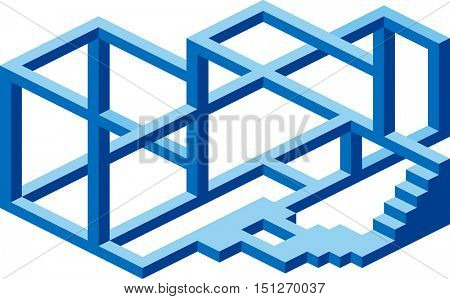 Under Construction. Impossible Construction. Optical Illusion. Abstract Construction Cantilever Confusion Business