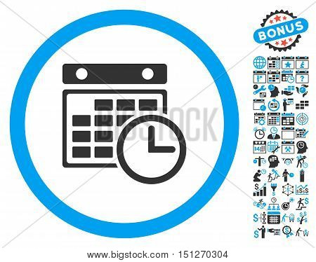 Timetable icon with bonus calendar and time management icon set. Glyph illustration style is flat iconic bicolor symbols blue and gray colors white background.