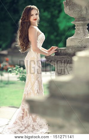 Elegant Bride Woman Wedding Portrait, Vogue Style Photo. Fashion Brunette Model Posing In Prom White