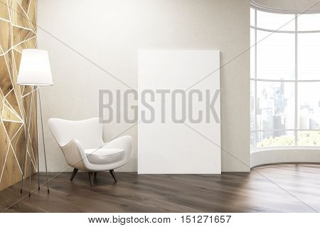 Living room with white armchair panoramic window and large vertical poster near the wall. Mock up. 3d rendering
