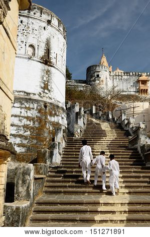 Pilgrims on the holy Palitana top in the Gujarat state in India