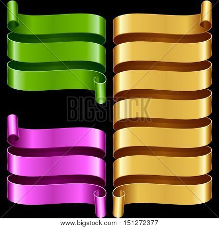 Vector ribbon frames set. Green, purple and yellow banners isolated on black background