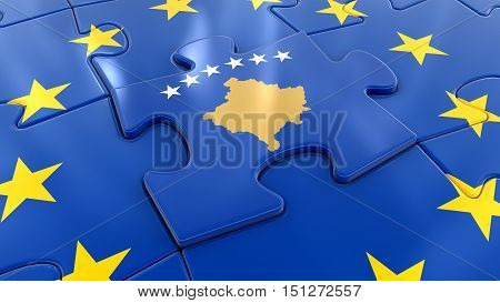 3D Illustartion. Kosovo Jigsaw as part of EU