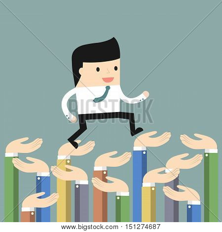 Business situation. Hands supporting a businessman. Symbol of support and trust. Vector illustration.