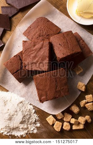 Chocolate brownie cake and ingredients. Top view, close up shot
