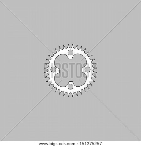 Sprockets Simple line vector button. Thin line illustration icon. White outline symbol on grey background