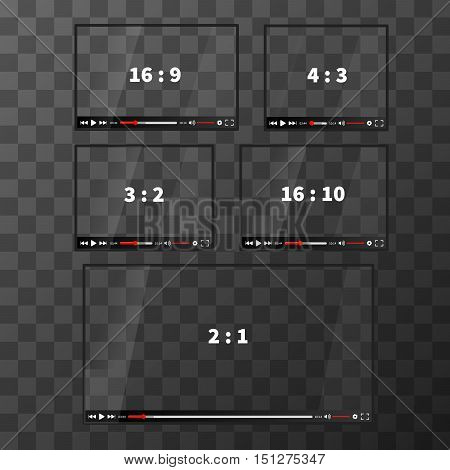 Set of modern glossy web players for video different proportions on transparent background