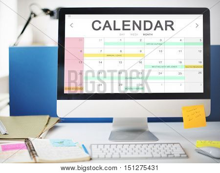 Calendar Agenda Event Meeting Reminder Schedule Graphic Concept