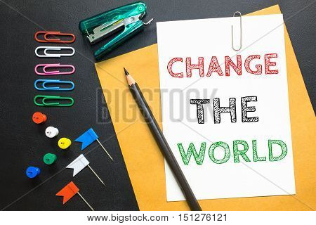 ext Change the world on white paper background