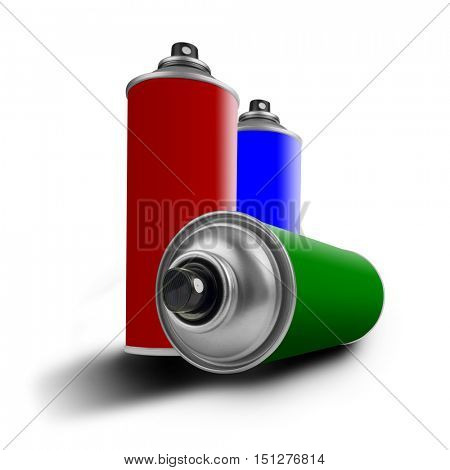 three colored cans, red, green and blue