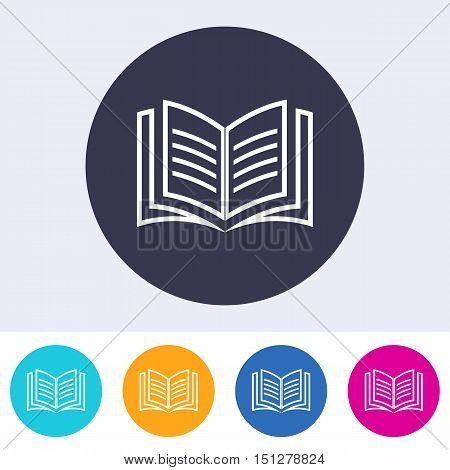 Vector open book icon on round colorful buttons