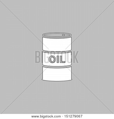 Oil barrels Simple line vector button. Thin line illustration icon. White outline symbol on grey background