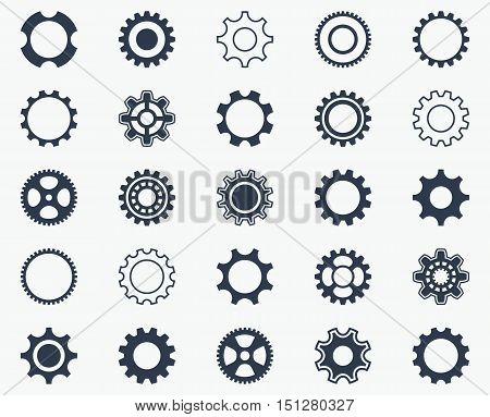 Collection of black gear wheel icons on white