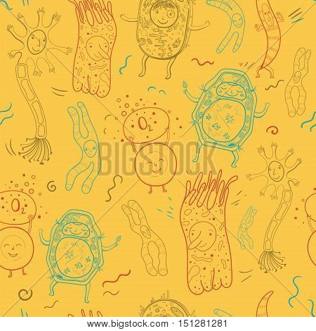Vector biological seamless pattern with animal and plant cells and chromosomes. Contour illustration for school and kids.