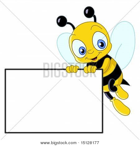 Cute Bee With Sign