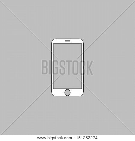 mini tablet Simple line vector button. Thin line illustration icon. White outline symbol on grey background