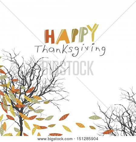 Happy Thanksgiving greeting card design. Logo and fallen trees. Autumn fall illustration. For autumn and thanksgiving greeting cards designs. Hand drawn quirky vector illustration