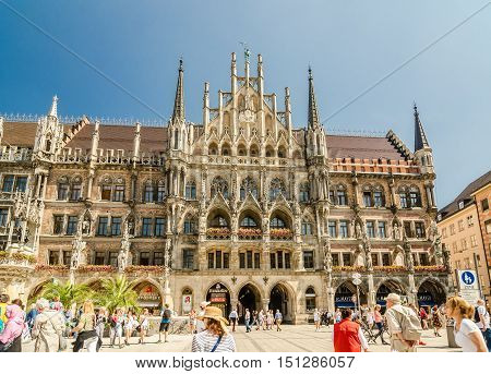 MUNICH GERMANY - JUNE 7 2016: The New Town Hall is a town hall at the northern part of Marienplatz in Munich Bavaria Germany.