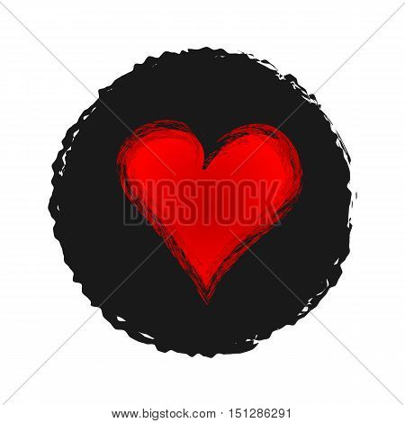 Red heart on a black background ragged. Sketch grunge. Isolated.