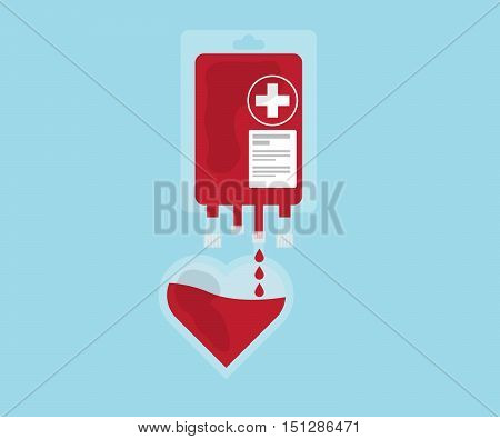 blood pour from blood bag to heart blood donate concept vector illustration