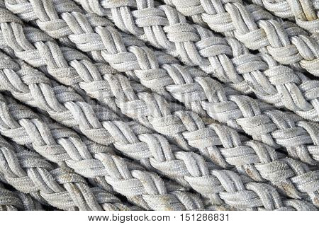 Old white ropes closeup in sunny day