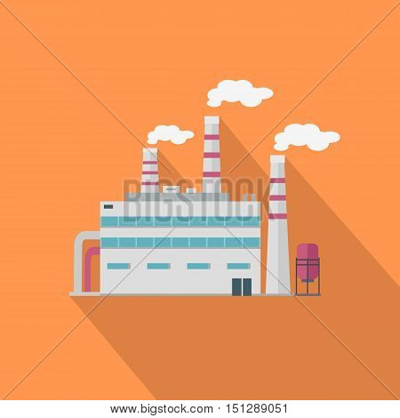 Factory with long shadow in flat style. Industrial factory building concept. Manufacturing plant building. Power electricity industry manufacturer icon.  Vector