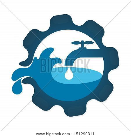 Repair plumbing and water supply systems symbol for business