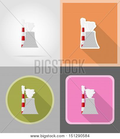 nuclear reactor flat icons vector illustration isolated on background