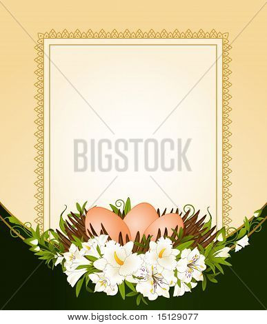 Eggs with lace ornaments and flowers