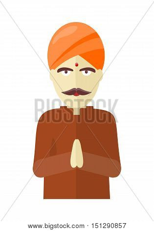 Indian man isolated on white background. Indian sadhu with crossed hands in colorful turban and robes. Hindu sadhu monk meditating. Man from India in national yoga suit. Vector illustration