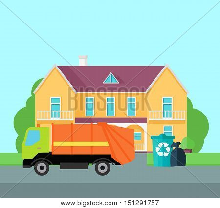 Cleaning garbage from the city streets vector illustration. Flat design. Garbage truck takes trash bags near beautiful house. Waste sorting and recycling.