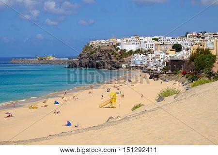 The beach Playa de Morro Jable. 25.06.2016 -  Fuerteventura Spain.