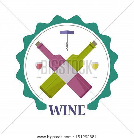 Wine advertisement poster. For labels, tags, tallies, posters, banners of check elite vintage wines. Logo icon symbol. Winemaking concept. Part of series of viniculture production and preparation items. Vector